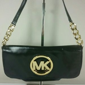 Michael Kors leather black gold chain Strap Bag
